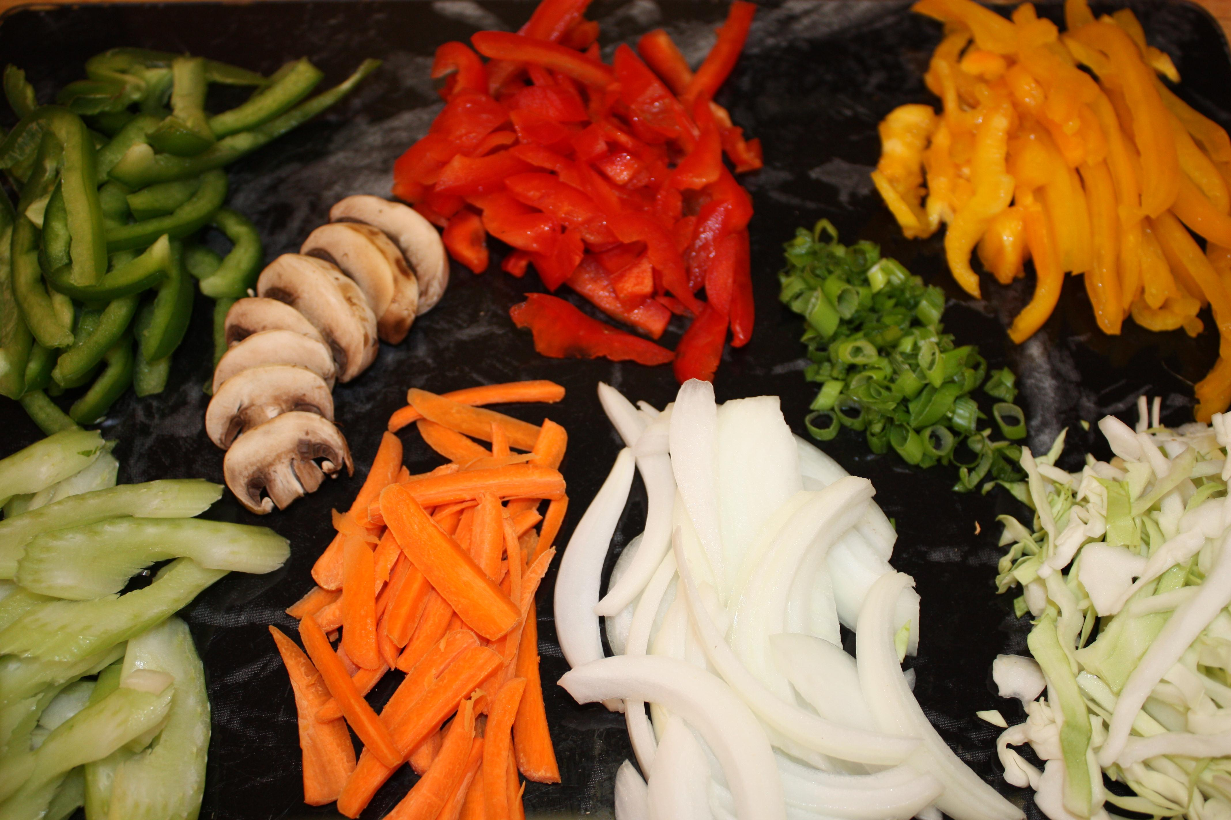 sliced and julienne vegetable display